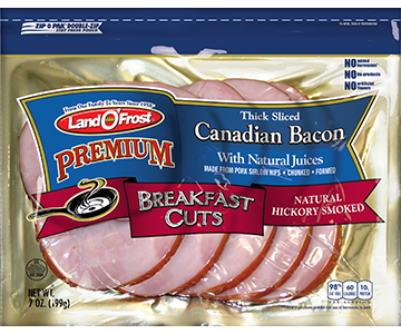 Premium - Thick Sliced Canadian Bacon Natural Hickory Smoked